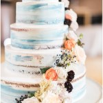 blue naked cake; cake flowers; Gallery Pastry Shop; Mexican inspired gold & floral wedding; Crowne Plaza Indianapolis Downtown Union Station; neutral floral and greenery wedding|Cory + Jackie and Jessica Dum Wedding Coordination