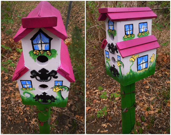 lavendar custom painted birdhouse cottage
