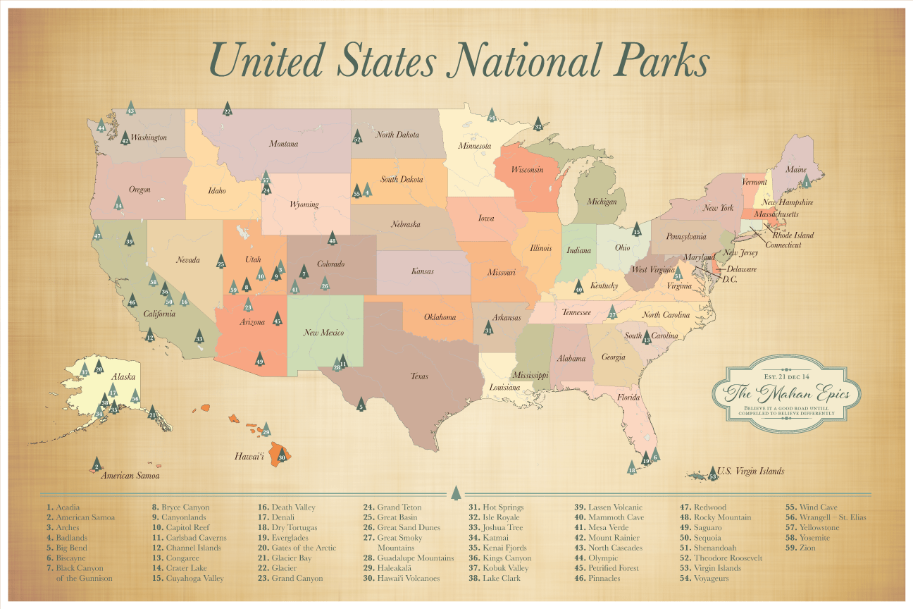 Push Pin Us National Parks Map Us Parks Map With Pins