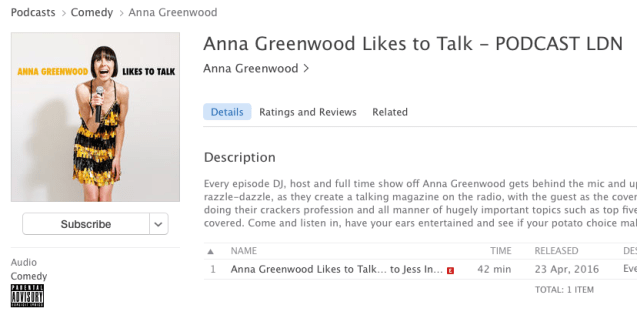Anna Greenwood Likes To Talk Podcast with Jess Indeedy