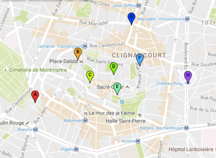 Castles of Montmartre Map