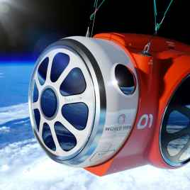 World View Voyagers will be transported to the edge of space via a luxuriously styled pressurized space capsule (rendering) Credit-World View