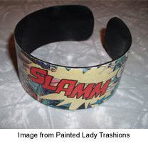 cuff bracelet made from recycled vinyl record and comic book image