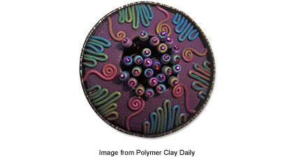 Libby Mills polymer clay bezel pendant with seed beads