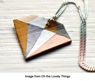 diamond shaped leather pendant