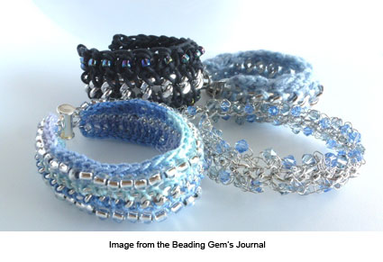 mixed media crochet and chain bracelets by Pearl