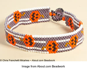 Halloween peyote stitch cuff bracelet from Chris Franchetti Michaels.