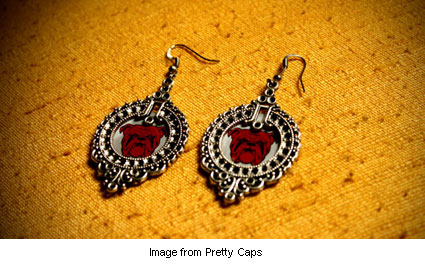 red bulldog earrings from Pretty Caps