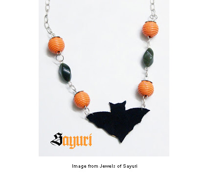 pumpkin and bat necklace from Divya at Jewels of Sayuri