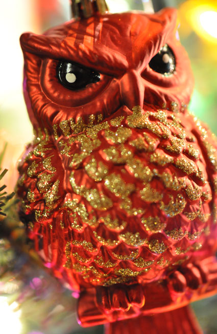 red glittered owl ornament