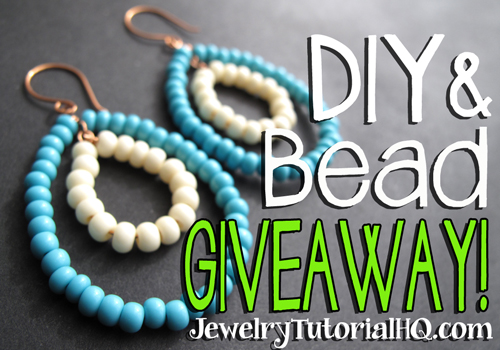 DIY Beaded Hoop Earrings Tutorial + #Giveaway! Enter to win free beads at http://jewelrytutorialhq.com/diy-beaded-hoop-earrings-tutorialbead-giveaway