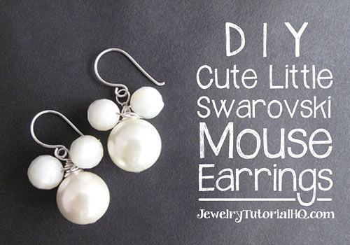 DIY beaded Swarovski mouse earrings