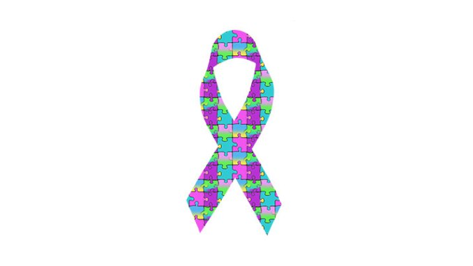 The jigsaw puzzle motif displayed on the Autism Awareness ribbon.