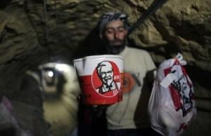Chicken smuggler (AFP/Getty) But see note below