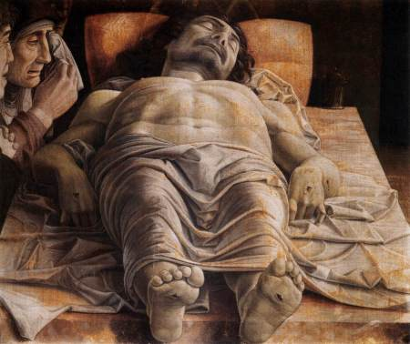 Painting of foreshortened body of Christ.
