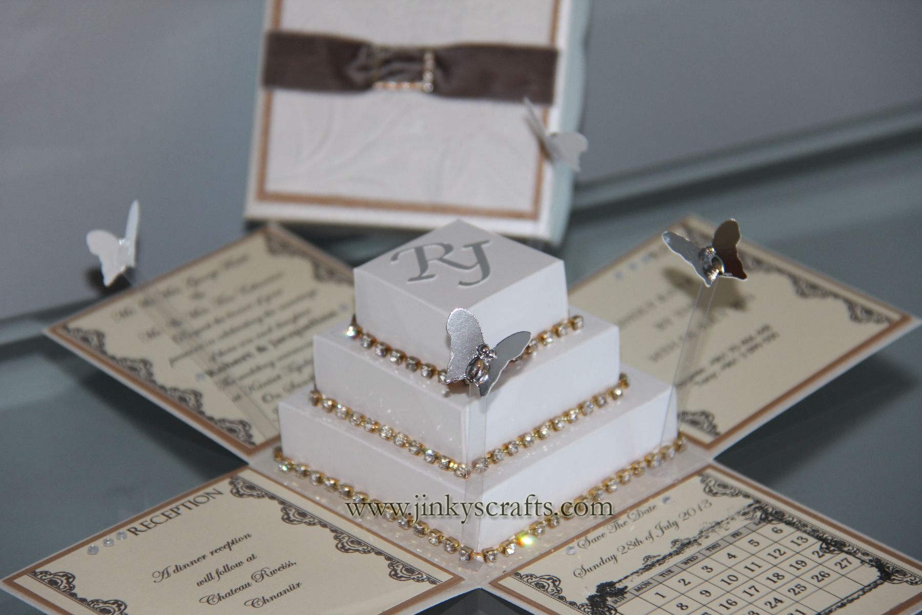 jinkyscrafts wedding box Lace Exploding Box Wedding Invitations w Square Cake