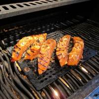 BBQ Grilled Lime Ginger Rum Glazed Wild Salmon
