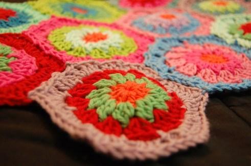First Few Hexagons of the Crochet Hexagon Blanket