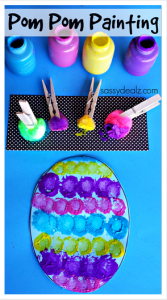Paint an Easter egg with pom poms from sassydealz.com