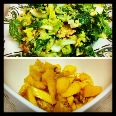 Chickpea salad over mixed greens and orange mango salad with cinnamon and walnuts