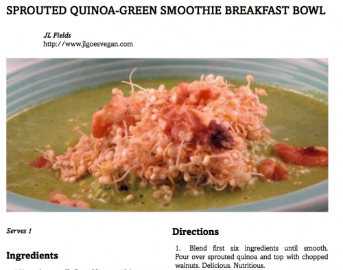 Sprouted Quinoa Green Smoothie Breakfast Bowl