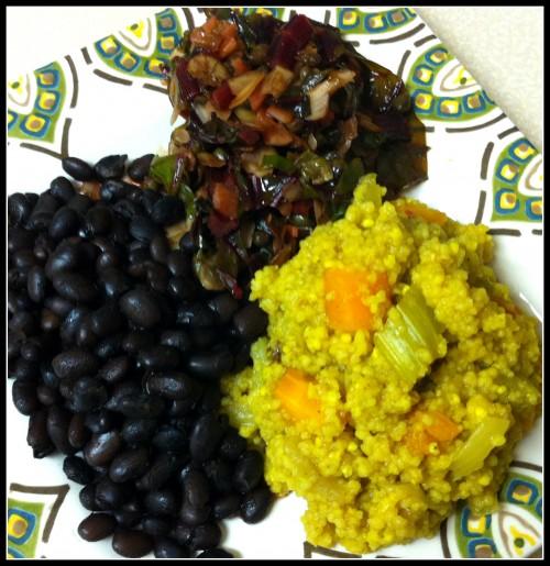 Black beans, millet-couscous veggies and sautéed red chard on JL goes Vegan