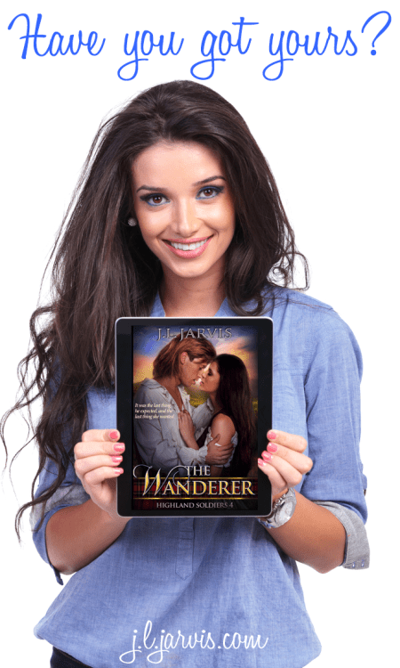 Woman holding Ebook Reader with The Wanderer Cover