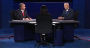 辯論期間,兩位副總統候選人討論氣氛熱烈。(網上截圖)