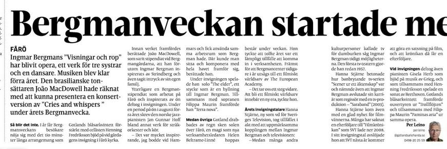Bergmanveckan news 2015 June