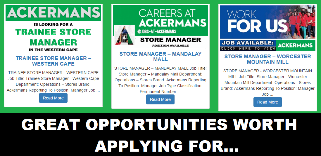 GREAT JOB OPPORTUNITIES WORTH APPLYING FOR. CLOSING 17 MAY 2016