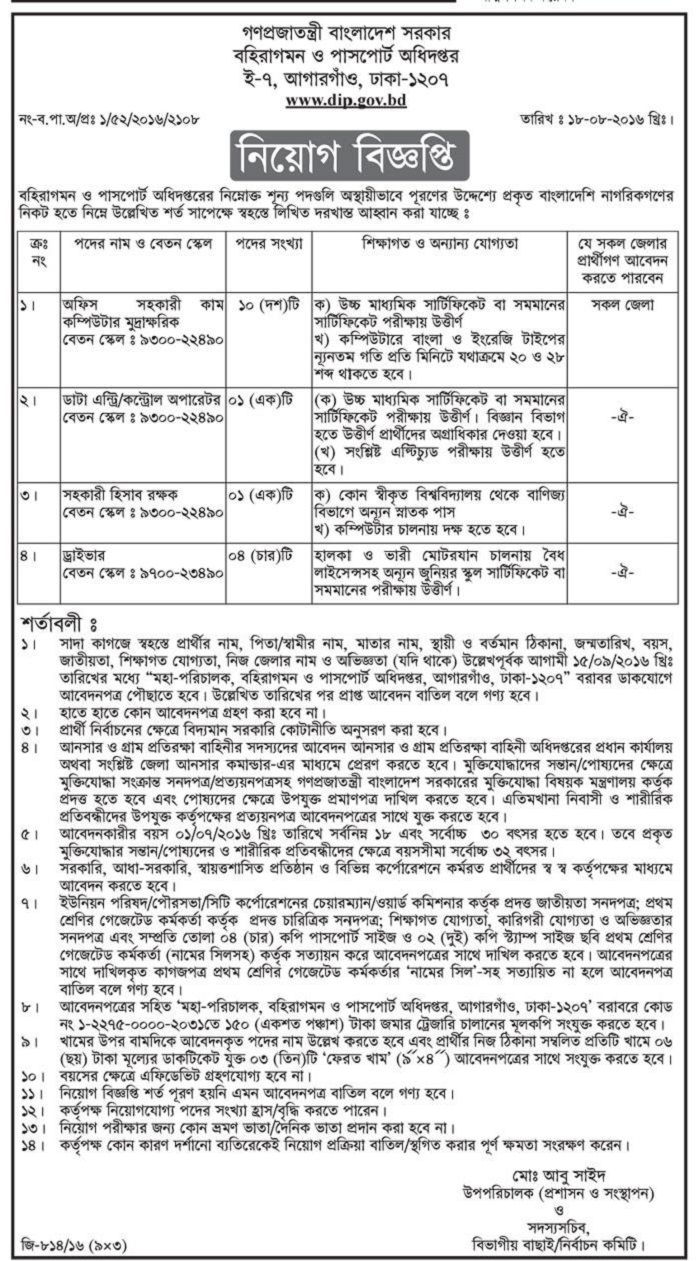 Passports Office Job Circular 2016