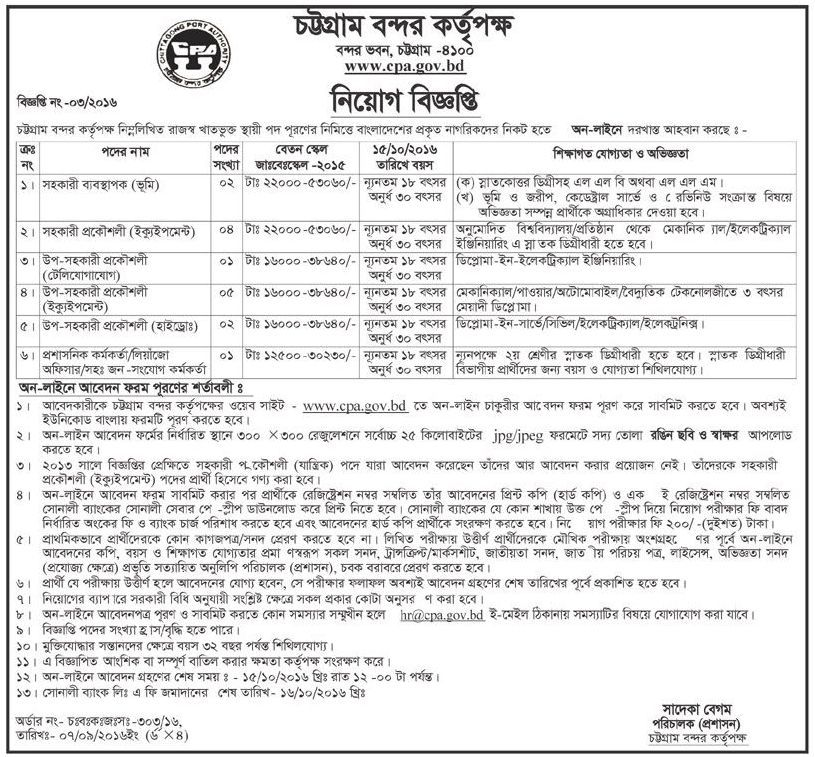 Chittagong Port Authority Govt Job Circular 2016