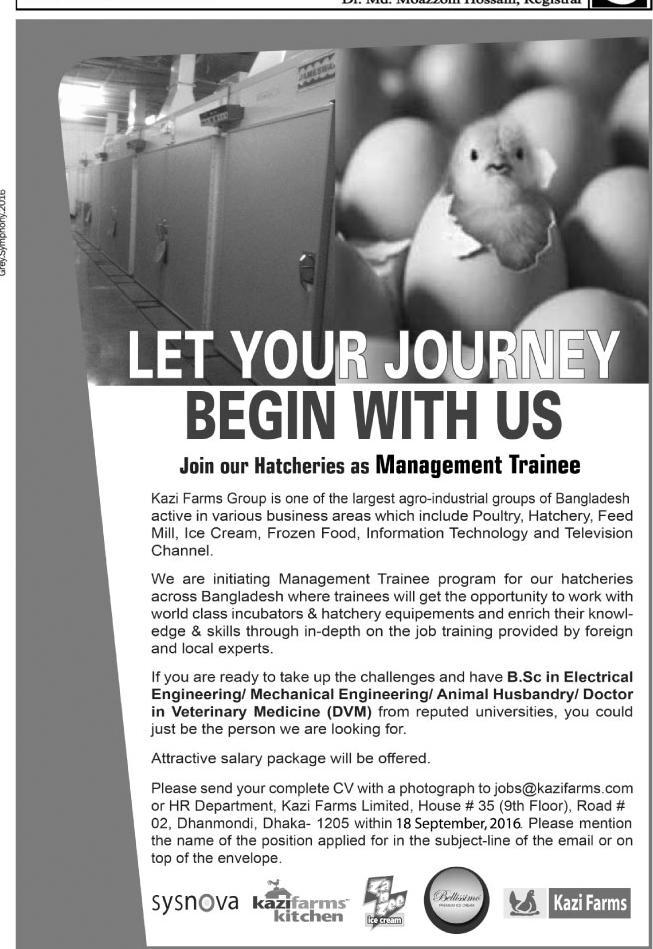 Kazi Farms Management Trainee Job Circular 2016