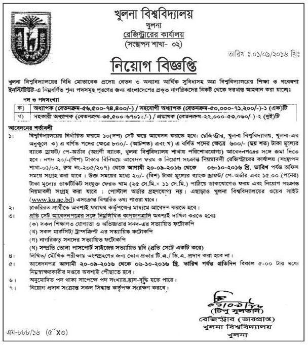 Khulna University Teaching Job Circular 2016
