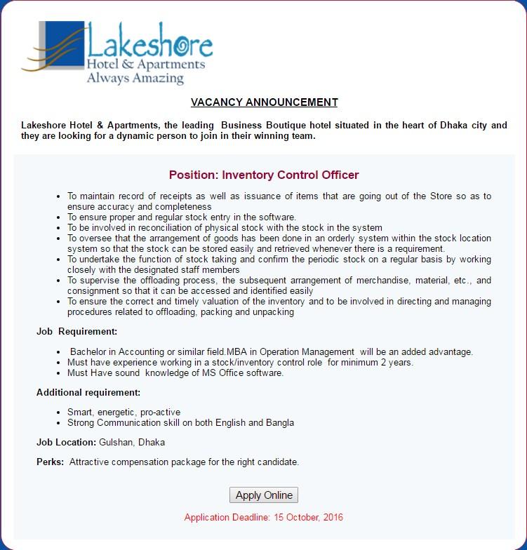 Lakeshore Hotel job circular in 2016