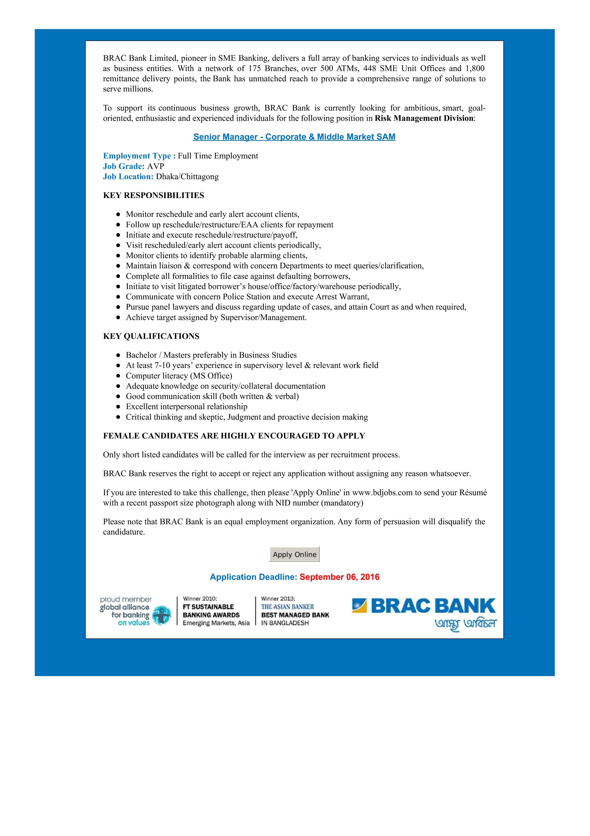Senior Manager - Corporate & Middle Market SAM