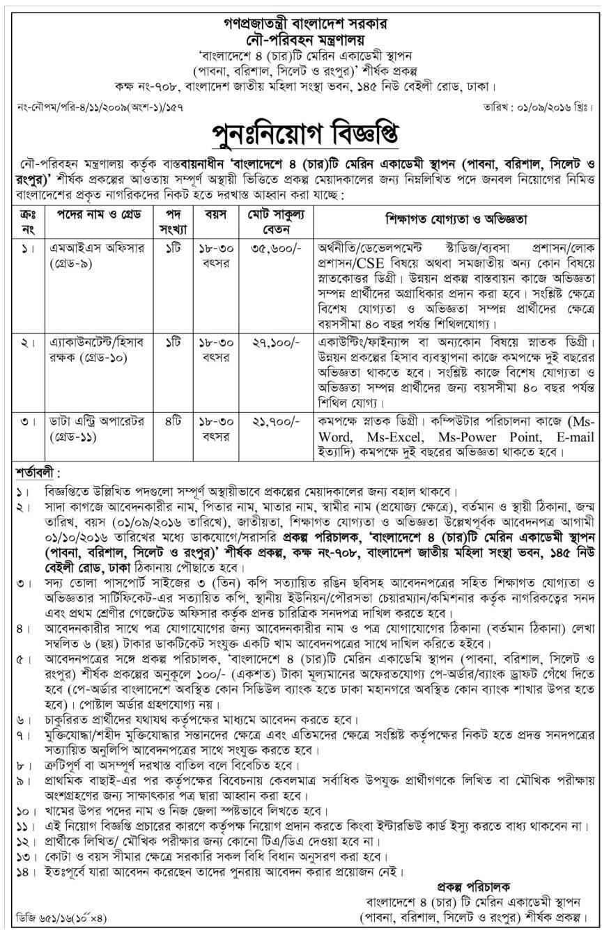 Shipping Ministry Govt Job Circular 2016