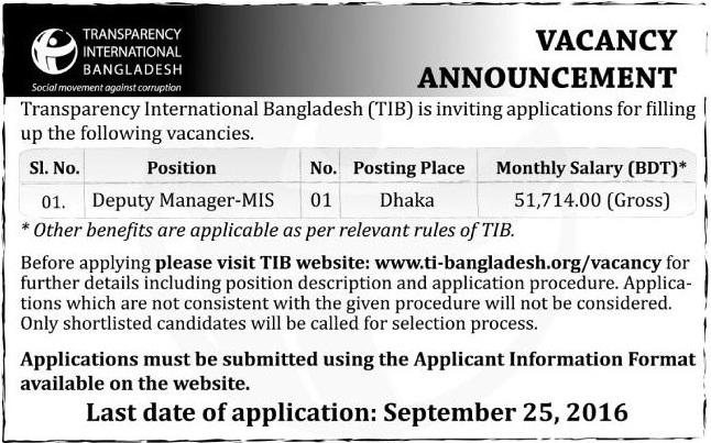 Transparency Intl BD Job Circular