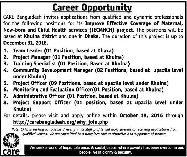 CARE Bangladesh Job Circular October 2016