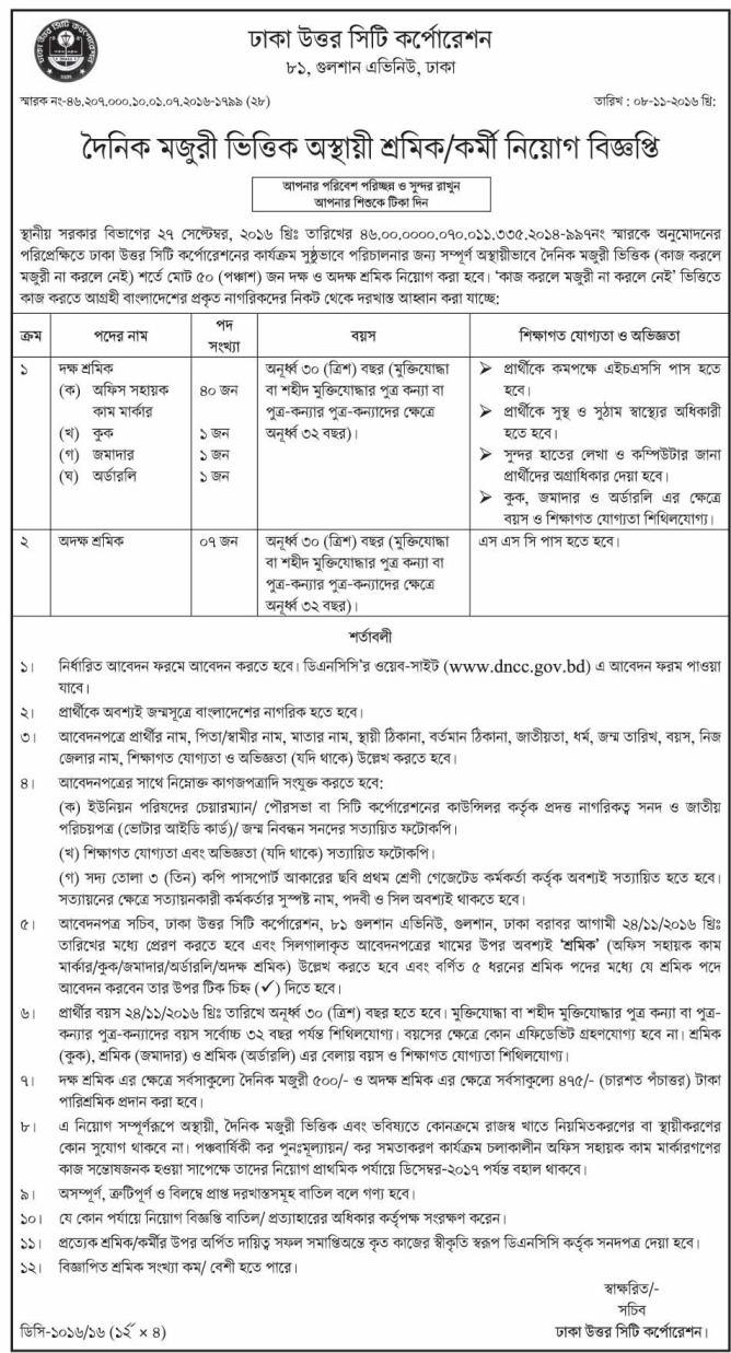 DNCC 50 Posts Govt Job Circular 2016