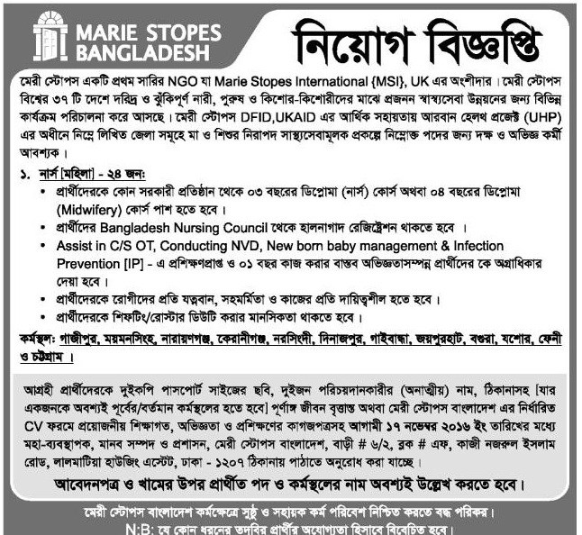 Marie Stopes Bangladesh 24 Posts Job Circular 2016