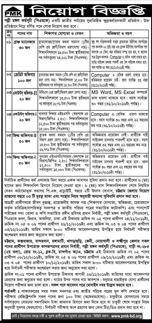 PMK job circular November 2016