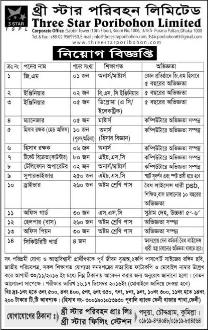 Three Star Poribohon job circular in November 2016.