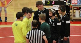 Mendon's captains shake hands before a match Saturday at Goldwater. | Photo by Hugh Plummer