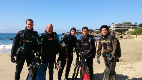 From left to right: Student David Didomenico, Student Norman Mercado, Student Ryan Abelman, Instructor Joseph Huynh, fun diver Richard Ho