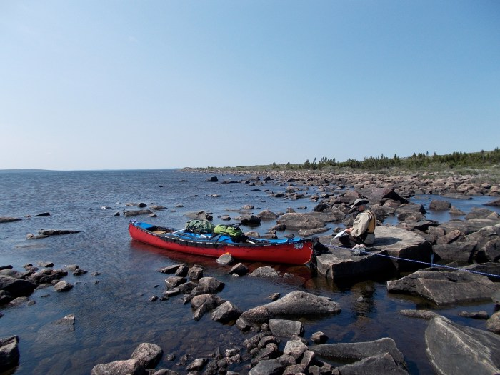 After a perilous passage across Carey Lake we sat in the lee of a very small rocky point waiting for the wind to drop