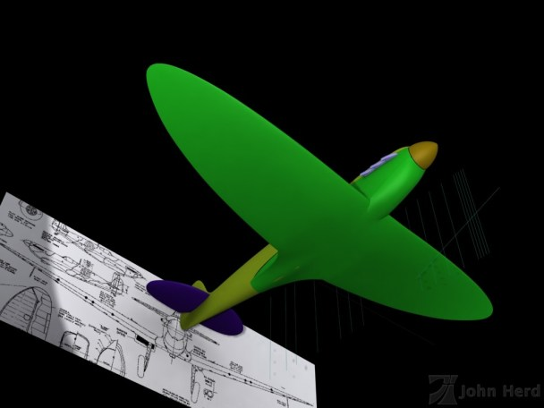 Unfinished 3D Supermarine Spitfire from below