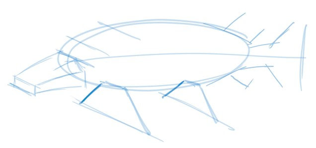 The final set of parallel guides shows you how long the far set of fins should be if the fins are symmetric.