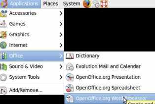Go to Applications> Office>OpenOffice Word Processor