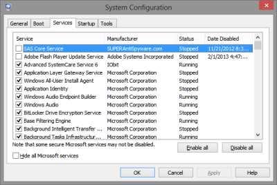 MsConfig Windows 8